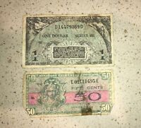 Vintage US Military Payment Certificate Post WWII $1 Dollar 50 Cents