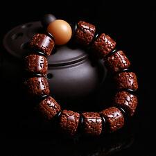 18mm Natural Nepalese Tibetan Rudraksha Vajra Bodhi Prayer Mala Beads Bracelet