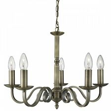 RICHMOND TRADITIONAL 5 LIGHT CEILING PENDANT LIGHT IN ANTIQUE BRASS 1505-5AB