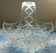 More details for antique vintage heavy large 24% lead crystal cut glass basket oval vase bowl urn