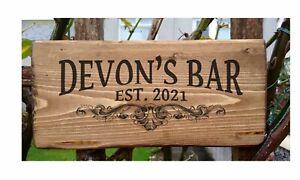 Personalised Bar Pub sign, Home Bar, Man Cave, Rustic, Customised, Garden Bar