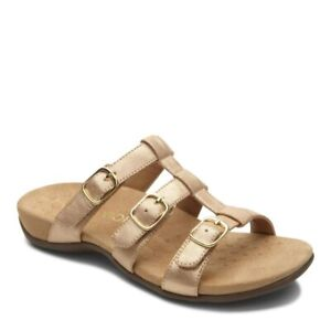 Vionic Womens Misa Strappy Sandal Champagne Buckle Slip On Size 6 W New