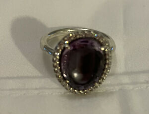Retired Large Purple Stone Pandora Ring Surrounded by CZs. Size 7 Sterling 925