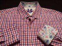 Robert Graham Mens Large L/S Button-Front Multicolor Plaid Check Flip Cuff Shirt