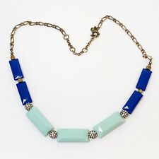 J Crew Glass Bead Pave Disco Ball Necklace Blue Turquoise