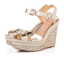 Christian Louboutin Almeria 120 Light Gold Glitter Platform Wedge Sandal Heel 42