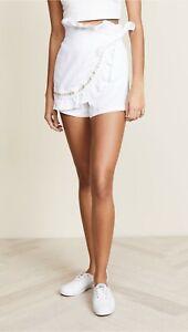 MISA Nelli Gold Grommet Accent Wrap Linen Skort Shorts Skirt White S $211 B1_3
