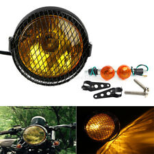 "6.5"" retro moto côté monter capot phare Grill supports + clignotants Cafe Racer"