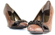 Sofft Womens Round Toe Snakeskin Leather High Heeled Pump-Buckle Design 10M