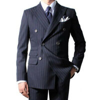 Men's Navy Blue Suit Striped Formal Business Wedding Prom Double Breasted Custom