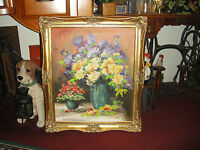 Lou Kennel Oil Painting On Canvas Gilded Wood Frame Bouquet Of Flowers In Vase