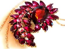 RHINESTONE FLOWER NECKLACE!Pendant Brooch/Pin.Amethyst & Lavender Crystals.