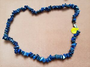 """Hand- Made GENUINE * LAPIS * NECKLACE 18"""" Long - Made in USA"""