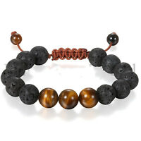 Men Healing Energy Tigers Eye Lava Stone Handmade Yoga Meditation Bracelet