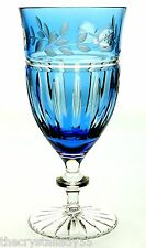 1 CRYSTAL WINE WATER ICE TEA GLASS AZURE BLUE CASED CUT TO CLEAR AJKA PRIONNSEAS
