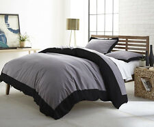 NEW SOFT 100% COTTON GREY BLACK WHITE 3 PCS ( BORDER TRIM )DUVET SHAMS COVER SET