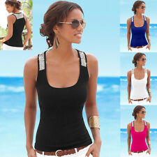 Sequin Strap Sleeveless Sexy T-shirt Summer Womens Square neck Tank Top Shirt