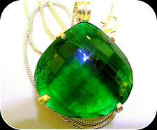 EMERALD HEART SHAP HUGE GEMSTONE HAND CRAFTED LADY'S UNIQUE SILVER NECKLACE