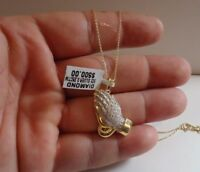 925 STERLING SILVER PRAYING HANDS NECKLACE PENDANT W/ .25 CT GENUINE DIAMONDS