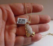 Plata de Ley 925 Manos Rezando Colgante Collar con 25 Ct Original Diamantes