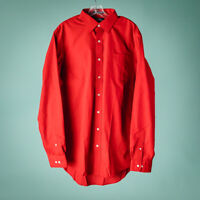 Lands End Size 17 36 Shirt Red Button Down Cotton Long Sleeve Career Casual