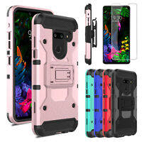 For LG G8 ThinQ Shockproof Case Cover With Holster Clip Stand + Screen Protector