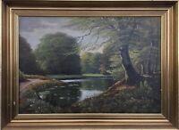 Naturalist Impressionist Harald Wentzel 1897 - ? Idylle at Forest Lake - 76 x 56