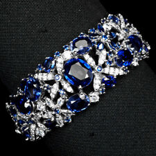 KASHMIR BLUE SAPPHIRE 58.20 CT. 925 STERLING SILVER CUFF BANGLE FLOWER WOMAN