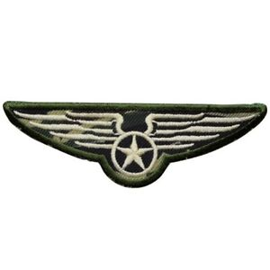 """Military Applique Patch - Camouflage, Camo, Wings, Pilot Badge 4"""" (Iron on)"""