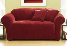 Sure Fit Pique 1 piece Sofa Slipcover Box Seat Cushion in red