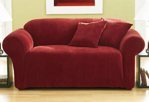 Sure Fit Red 1pc Pique Love Seat Slipcover Box Seat Cushion