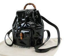 Authentic GUCCI Black Patent Leather Bamboo Handle Mini Backpack Bag #24917A