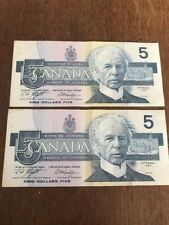 2x Bank Of Canada 1986 $5 Five Dollar Bill Note Consecutive Serial ANS