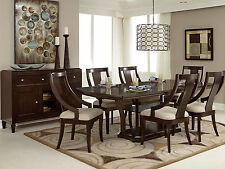 NEW Art Deco Dark Brown Rectangular Table & Chairs - 7pcs CLARK Dining Room Set