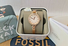 FOSSIL ladies Flynn Chronograph Rose Gold Stainless Steel Watch BNWB RRP £119