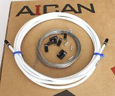 Aican Premium bike Shift Derailleur cable housing set kit Alloy Ferrules White