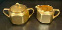 Antique K.ST & T Silesia Germany Porcelain Sugar Bowl & Creamer