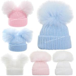 BABY GIRLS BOYS KNITTED POMPOM HATS NEW BORN PINK BLUE WHITE FUR BOBBLE CAP