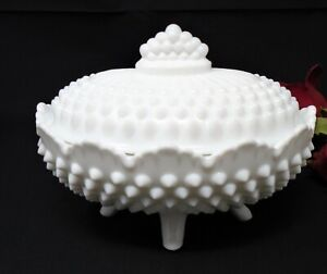 Fenton Hobnail Milk Glass Oblong Footed Candy Dish with lid, 6 1/2 in. dia.