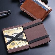 Unisex Magic Leather Wallet Mini Bifold Card Holder Purse Money Clip Wallet Gifb