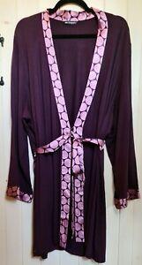M&S Autograph Berry Soft Modal Satin Trim Jersey Robe Size 20/22