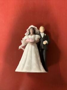 "Vint Bride And Groom Wedding Cake Topper Art Deco Lefton 5"" Interracial Biracial"