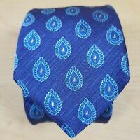 Ted Baker Necktie Blue Paisley Teardrop Print 100% Italian Silk Made in USA