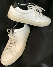 Woman By Common Projects Retro Low Leather White Sneaker Black Trim Size 39