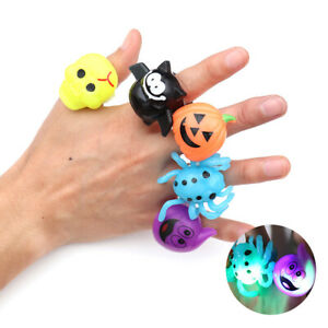 For Kids LED Flashing Glow in Dark Finger Light Ring Halloween Party Favor Toy