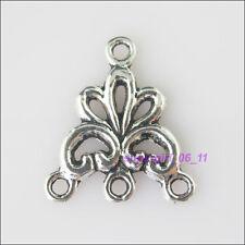8Pcs Tibetan Silver 1-3 Flower Charms Pendants Connectors 17x19mm