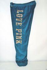 Victoria's Secret Love PINK Pants Bling Aqua Crop Velour Gold Sequins S NEW