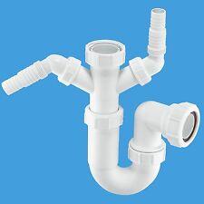 "McAlpine 1-1/2"" Sink Twin P Trap for Dishwasher and Washing Machine 40mm WM11"
