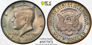 1990 Kennedy Half Dollar PCGS MS66   ( rainbow toning )