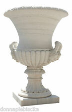 Grande Vaso in Marmo Bianco Decorato Sculture Rilievo Handcarved Marble Big Vase